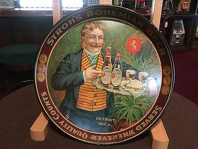 "12"" STROH'S BOHEMIAN BEER of DETROIT Michigan Tin Serving Tray"