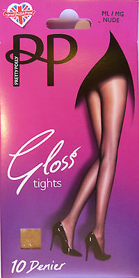 Pretty Polly Medium to Large Size Glossy 10 Denier Tights in Black or Nude