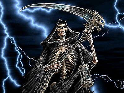 "3.25"" GRIM REAPER with Lightning Sticker / Decal Computer Angel of Death kill"