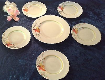 vintage cake plate set platter sandwich side plates WILKINSON HONEYGLAZE autumn