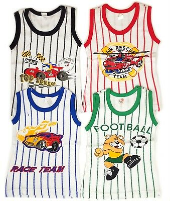 Underwear Undershirt Tank Top Boys Stripe Printed 4 Pack Infant Toddler Kids New