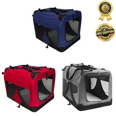 PORTABLE FOLDABLE KENNEL Pet Soft Crate Dog Cat Carrier Travel Cage Large