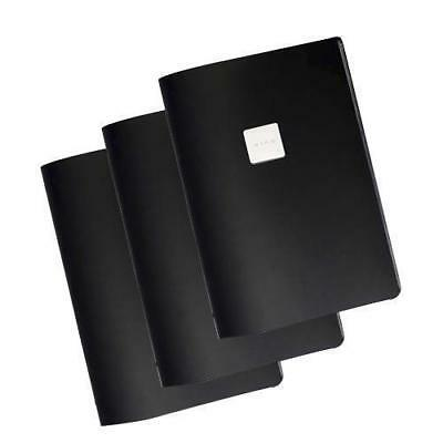 20x Deluxe Tuscan Leather Menu with Wine Badge Black A4 2 Pockets Restaurant NEW