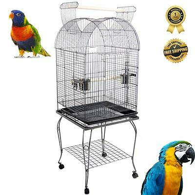 Pet BIRD CAGE AVIARY Parrot Budgie Canary Open Roof with Stand Wheel 150cm Black