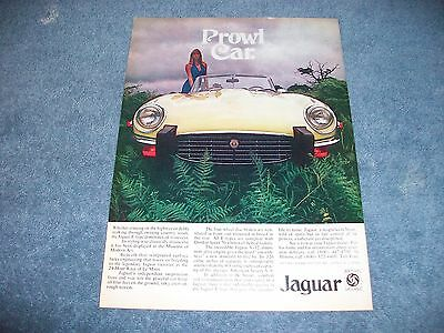 "1974 Jaguar E-Type Vintage Color Ad ""Prowl Car."""