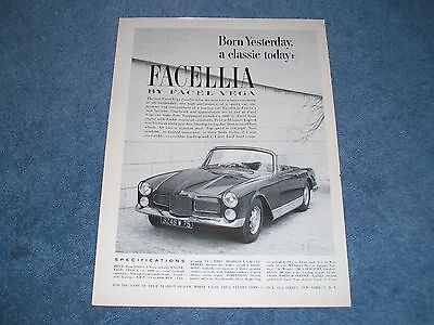 "1960 Facel Vega Facellia Vintage Ad ""Born Yesterday, A Classic Today"""