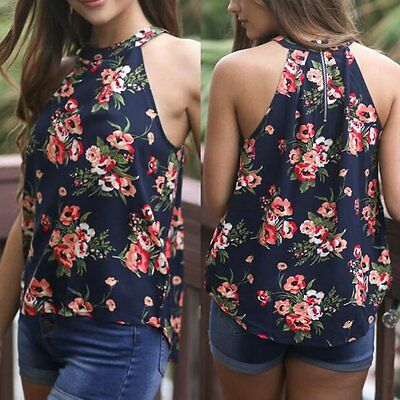 New Fashion Women Summer Floral Blouse Sleeveless Casual Vest Tank Tops T-Shirt
