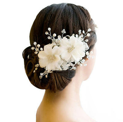 Romantic White Lace Floral Hairwear Wedding Bride Hair Ornaments Pearl Headdress