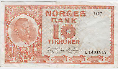 Norway 10 Kroner 1967 in (aVF) Banknote P-31
