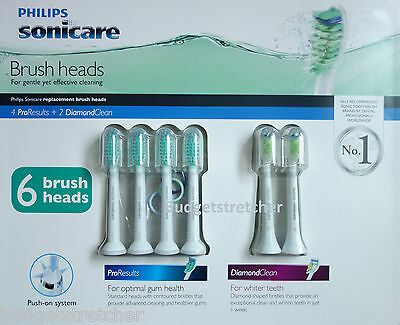 Authentic Philips Sonicare 2 x Diamond Clean + 4 x ProResults Brush Heads HX6016