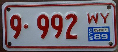 1989 Wyoming Motorcycle License Plate #9-992