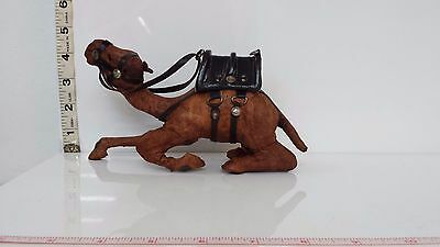 "100% Leather Camel Laying Sculpture Statue-Antique Vintage 8""Long by 4.5""Tall"