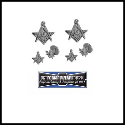 New SILVER Tone Cut Out MASONIC Insignia Formal Tuxedo Cuff Links Studs Set