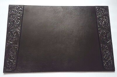 Ralph Lauren Dakota Southwestern Motif Tooled Black Leather Blotter Made Mexico