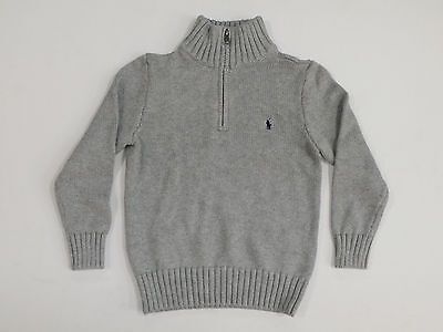 Polo By Ralph Lauren Boy's Long Sleeve 1/4 Zip Pullover Sweater Gray Size 6 New