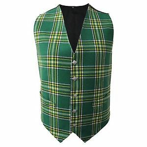 New Mens Scottish Waistcoat In Irish National Tartan With Thistle Buttons