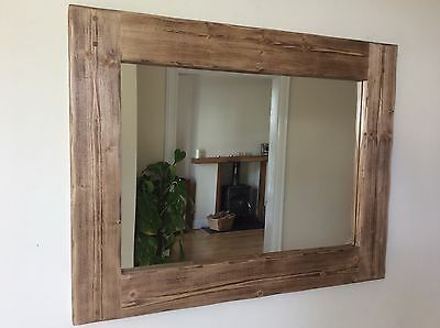 *Beautiful quality large handmade chunky rustic wooden mirror*