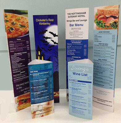 Table Talkers  A3 Laminated, ( Stand up table menu )   any design