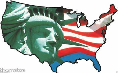 Usa Flag Map Statue Of Liberty Close Helmet Bumper Sticker Decal Made In Usa