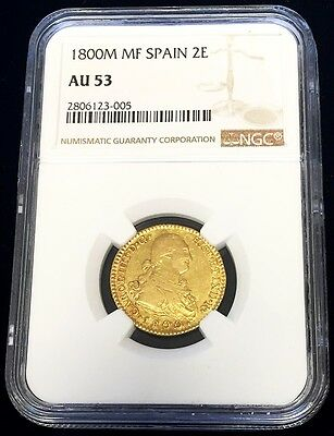 1800 M Mf Gold Spain 2 Escudos Charles Iv Coin - Madrid Mint - Ngc About Unc 53