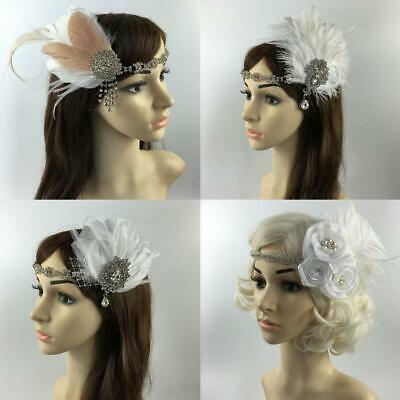 1920s Flapper Great Gatsby Headband Feather Headdress Vintage Hair Accessories
