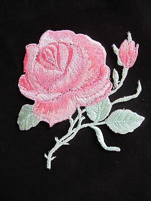"3-1/4"" Pink Rose Flower Embroidery Iron On Applique Patch"