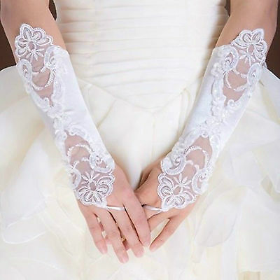 Free shipping White/Ivory Bride Wedding Party Fingerless Pearl Lace  Gloves
