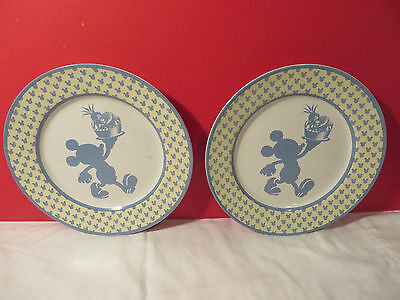(2) Disney MICKEY'S DINER Mickey Mouse Blue/Yellow Stoneware Salad Plates