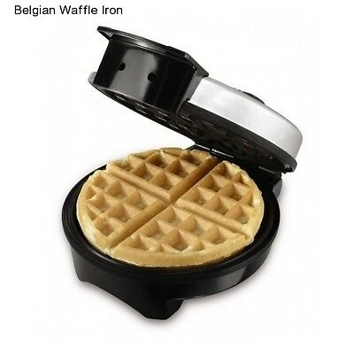 Round Waffle Maker Belgian Electric Breakfast Griddle Iron Stainless Steel Gift