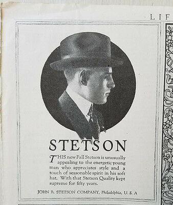 1920 Vintage Mens Fall Stetson John Stetson Co Fashion Original Ad