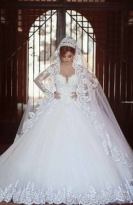 New White/Ivory Lace Wedding Dress Bridal Ball Gown Custom Size 6-8-10-14-16+++