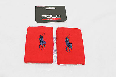 Ralph Lauren Polo Sport Men Red cotton Blend Terry Wristbands wrist bands