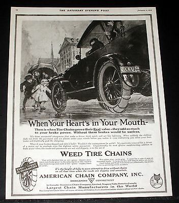 1919 Old Magazine Print Ad, Weed Tire Chains, When Your Heart's In Your Mouth!