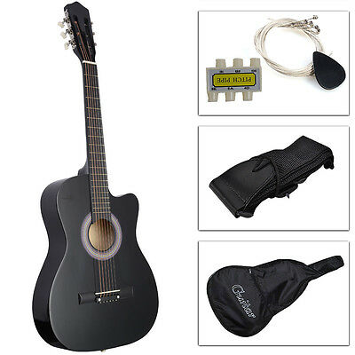 38'' Beginners Students Acoustic Guitar W/Case, Strap, Tuner and Pick Black