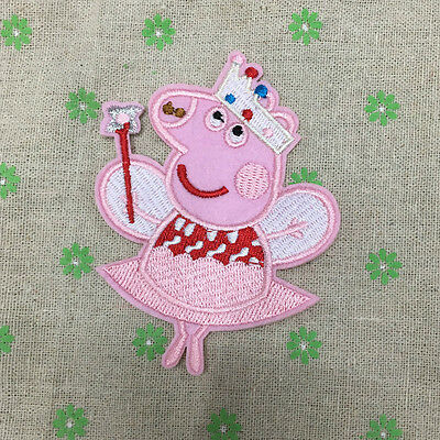 Embroidery Pink Peppa Pig Sew Iron On Patch Badge Embroidered Fabric Applique