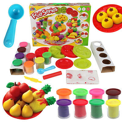 Funny 3D Play Dough Mold Set Puzzle Fruit Soft Clay Plasticine Toys Kids Gift #P