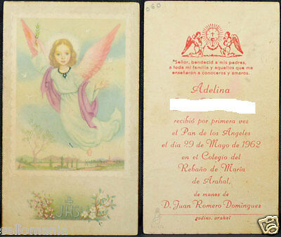 Old First Communion Remembrance Holy Card Year 1962 Andachtsbild Santini  Cc1045