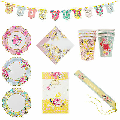 47 Item Set Baby Shower Truly Vintage Party Tableware & Decorations