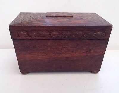 Vintage / Antique Wooden Sarcophagus Lead Lined Tea Caddy