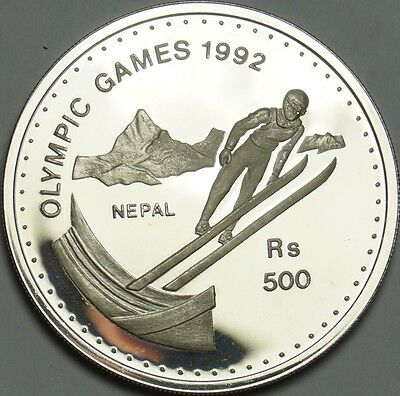 """Nepal - 500 Rupees """"Olypmic Games 1992"""", Silver PROOF"""