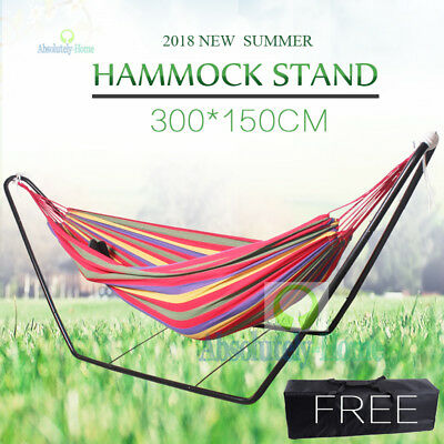 Steel frame Stand & Double Hammock Combo Swinging Camping Outdoor Cotton Fabric