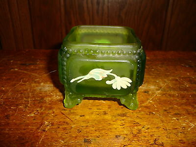 Vintage Westmoreland Glass VictorianTrinket Box Green Mist Hand Painted No Lid