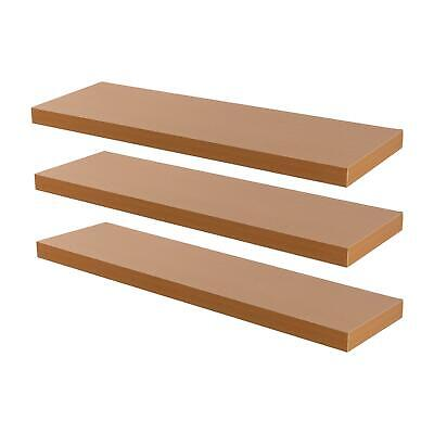 Floating Wall Shelf Wooden Shelves Wall Storage 80cm - Natural Beech - Pack of 3