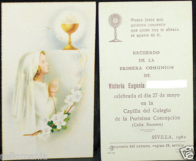 Old First Communion Remembrance Holy Card Year 1962 Andachtsbild Santini  Cc1106