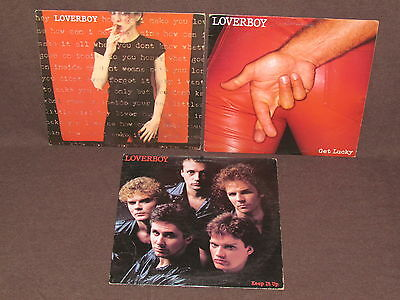 LOVERBOY 3 LP RECORD ALBUMS LOT COLLECTION Self 1980 Debut/Get Lucky/Keep It Up