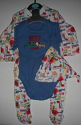 Baby Boys 4 Piece Set in 100% cotton with Baby Grow, Body suit, Bib and Hat