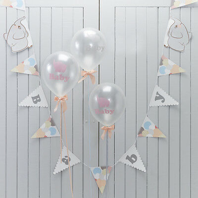 Baby Shower Party Decorations Supplies Bunting Elephant Unisex Baby Boy/girl