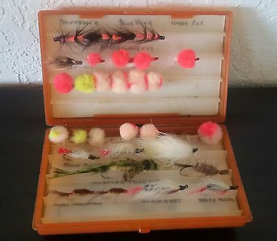 Vintage SCIENTIFIC ANGERS Fly Box ASSORTMENT Hand Tied Collectible HOOKS Orange