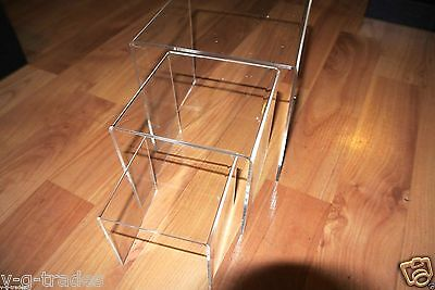 "SM Brand New Set of 3 Clear Nested Jewelry Acrylic Risers- 3"" 4  "" 5 """