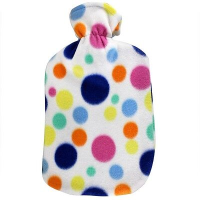 Fashy Hot Water Bottle with Big Dots Fleece Plushie Cover 2L Water Bottle